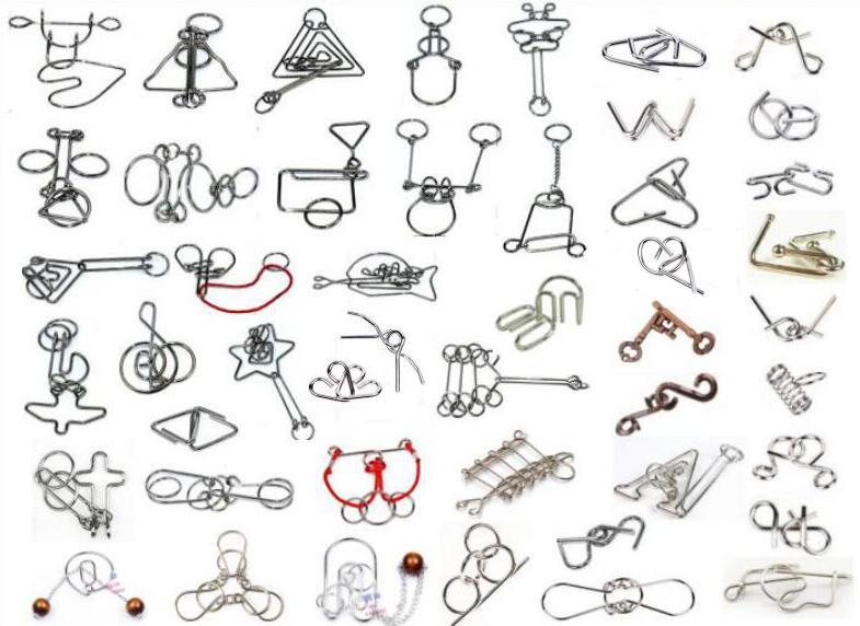 47 pièces par ensemble classique IQ fil métallique Puzzle esprit éducatif anneau Puzzles jeu pour adultes enfants