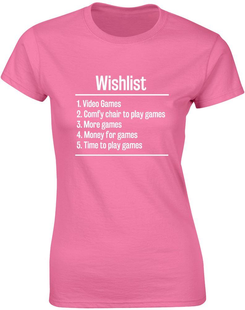 Oversize Style Tee Shirts Styles Crew Neck Short Video Games Wishlist Printing Womens Shirt
