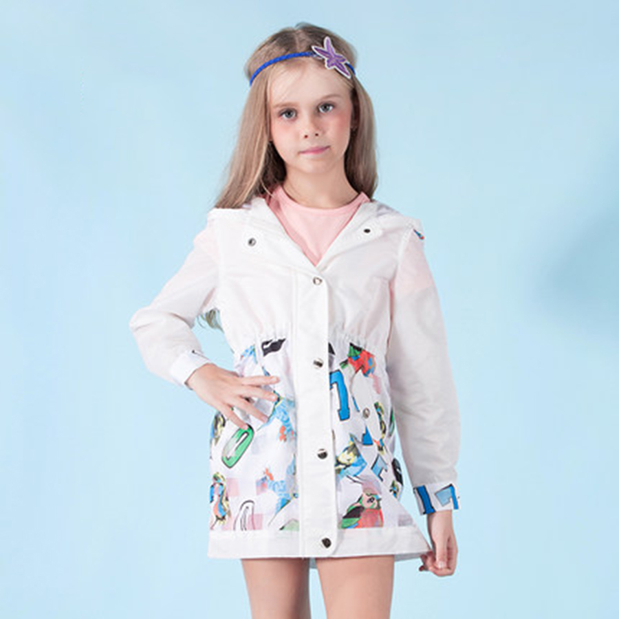 Spring Autumn Girls Jackets Coats White Trench Coat Thin Elegant Korean Children Coat Kids Girls Cardigan Jacket Casual 70F1596 цены онлайн