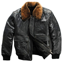 genuine cow leather jacket men's  big size air force A2 thick cowhide skin leather jacket