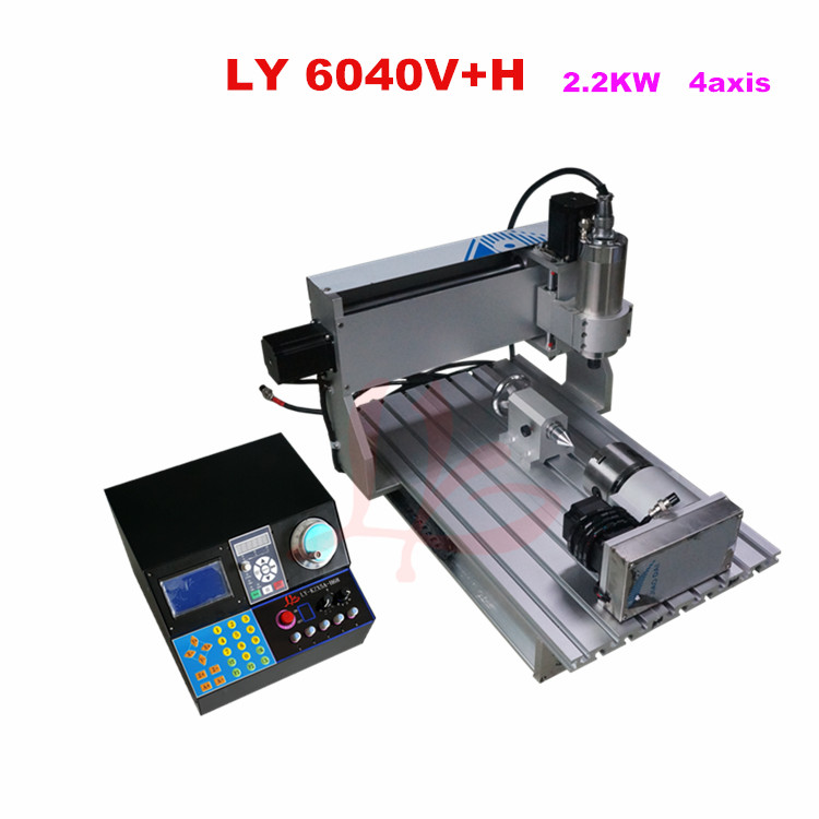 Best VFD controller 6040V+H 2.2KW 4 axis mini CNC milling machine free tax to RU cnc 5axis a aixs rotary axis t chuck type for cnc router cnc milling machine best quality