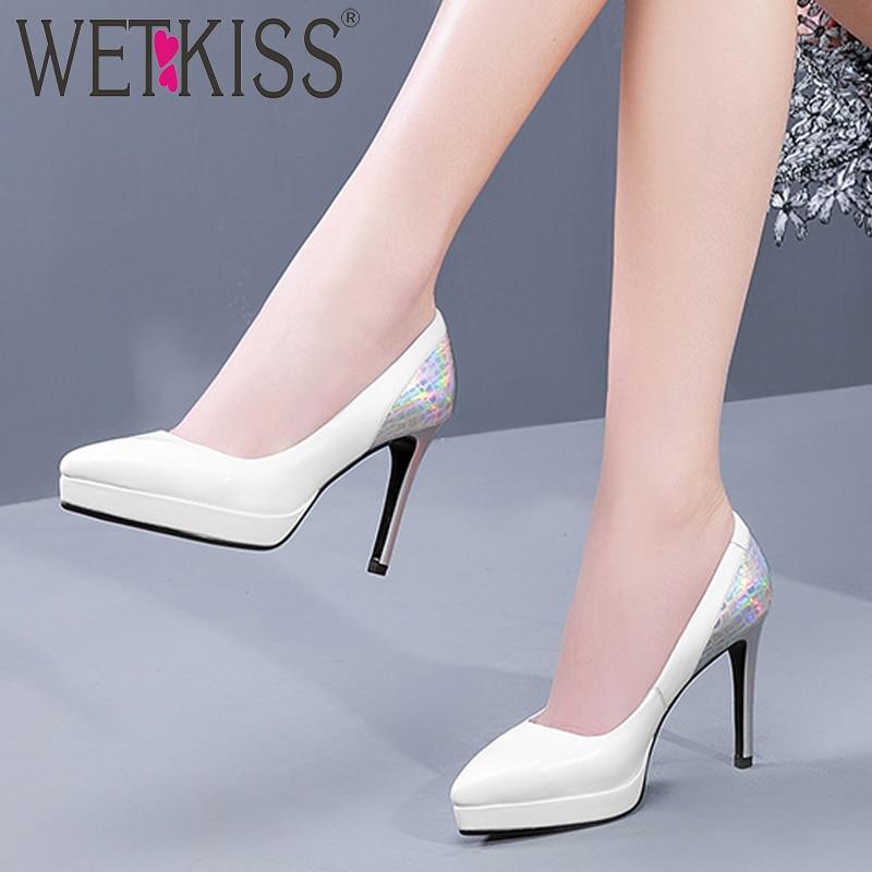 Primavera Mujer Fiesta Calzado Plataforma Puntiagudo Nuevo blanco Altos Cuero Vaca Wetkiss Pie Mujeres De Las Negro Del Tacones Baja Bombas 2019 Dedo Zapatos W6PaUfwvqx