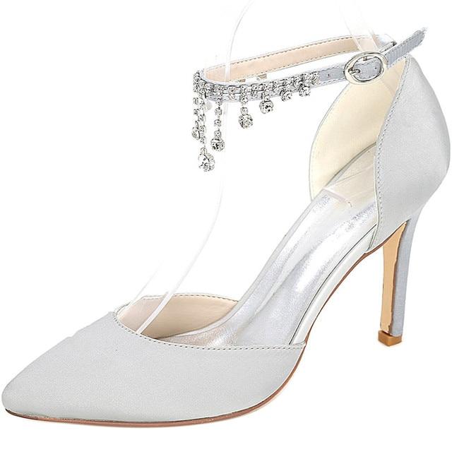 LOSLANDIFEN Women Crystal Pendant Ankle Strap Wedding Shoes 8CM High Heels  Satin Silk Pointed Toe Bridal Shoes White Blue c46110202d14
