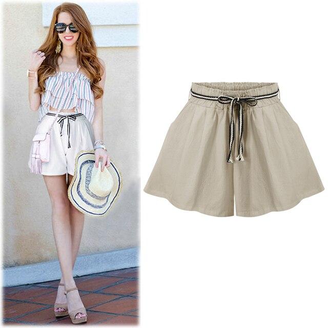 3346d2208 € 13.5 39% de DESCUENTO|Faldas cortas de verano Mujer casual suelta 2019  nueva moda talla grande color sólido M 6XL delgada cintura alta pantalones  ...