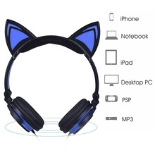 Foldable Flashing Glowing Cat Ear Headphones Cute Gaming Headset Earphone with LED light For PC Laptop Computer Smartphone все цены