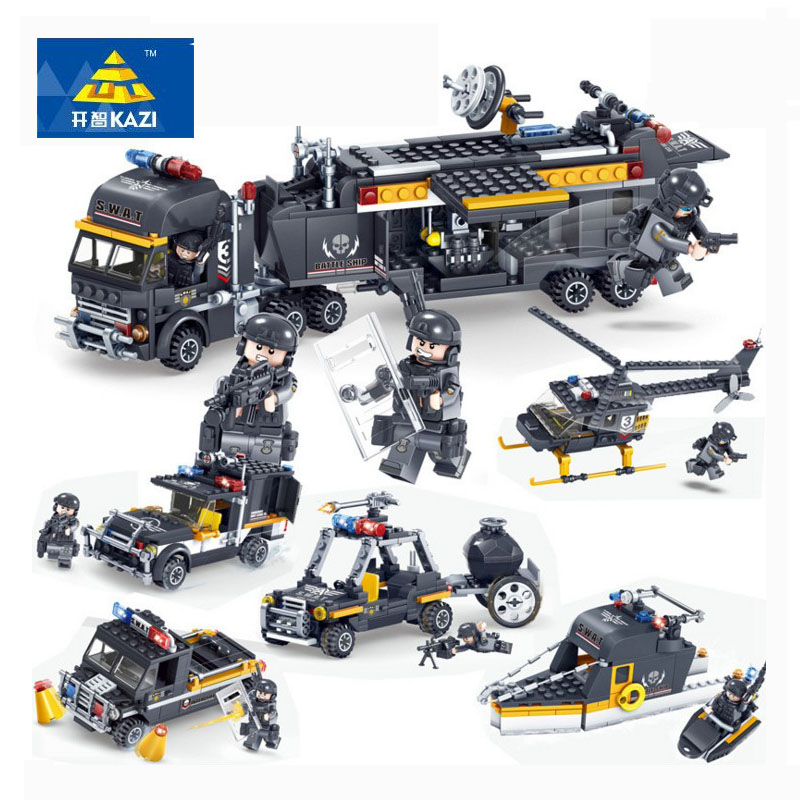 KAZI 82024 SWAT Team Command Vehicle Car 3D DIY Model Building Blocks Bricks Compatible City Police Toys For Children Boys b1600 sluban city police swat patrol car model building blocks classic enlighten diy figure toys for children compatible legoe