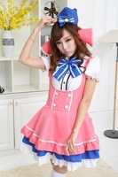 Halloween Stewardess Cosplay Costume Pink Blue Cute Uniform Temptation Maid Skirt Erotic Latex Fantasia Women Sexy