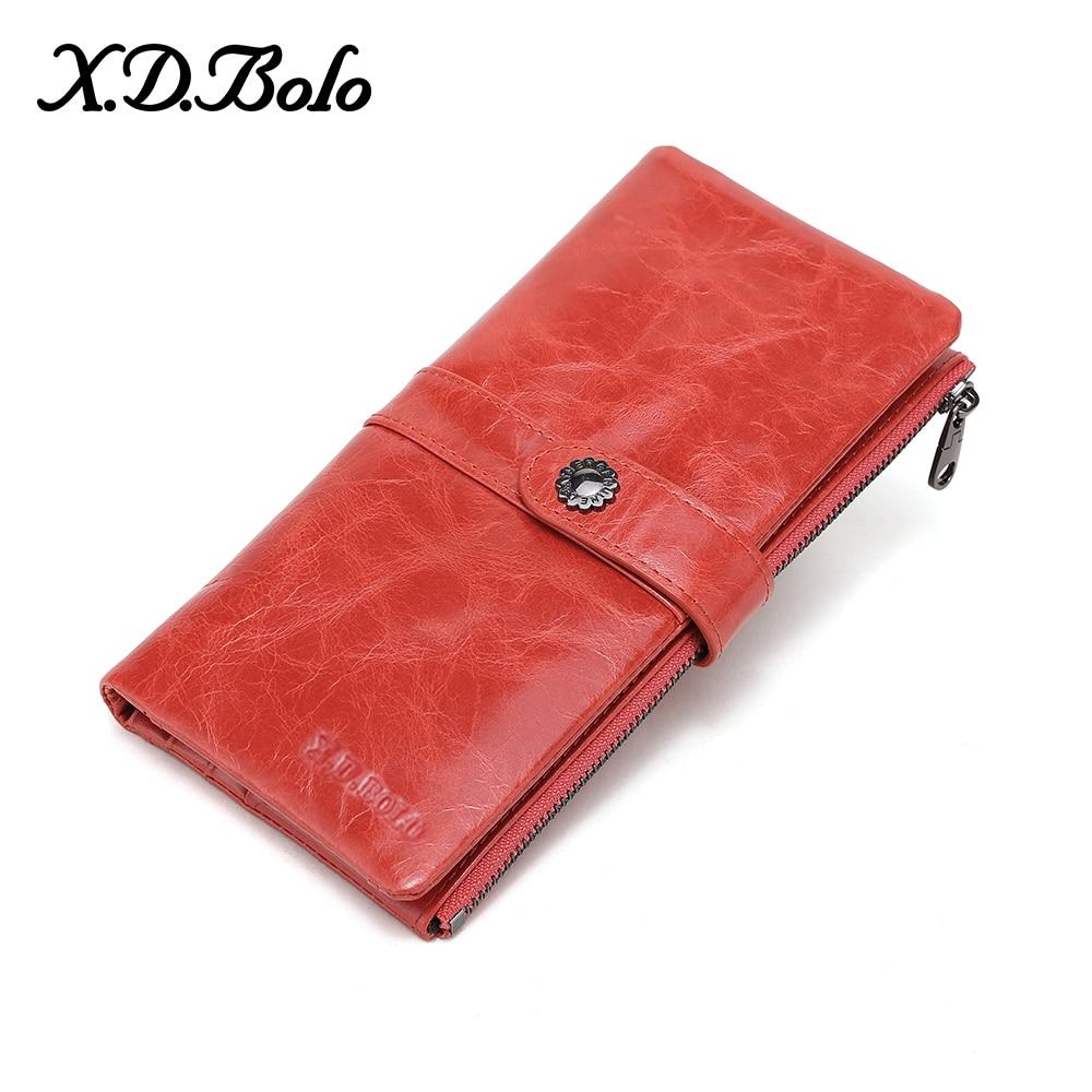 X.D.BOLO Wallet Genuine Leather Women Wallets And Purses Long Wallet Women's Clutch Purse Money Bag Ladies Purses Wallet