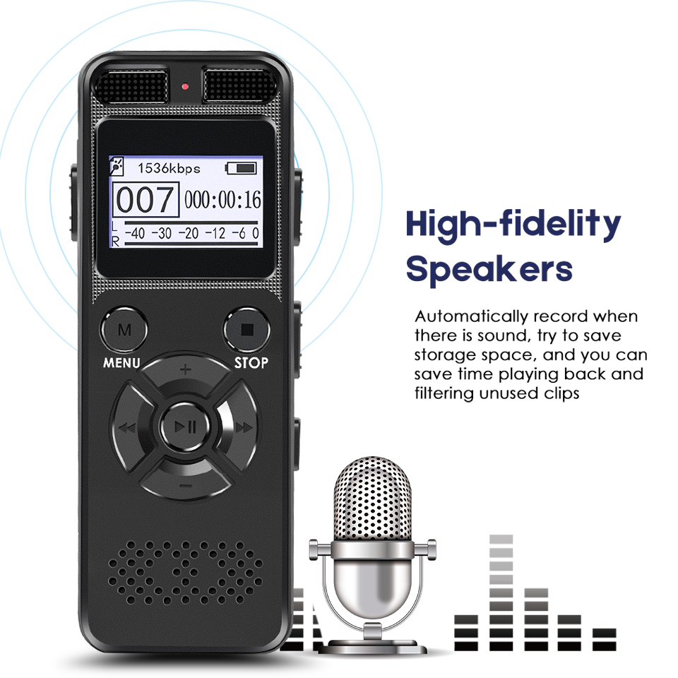 Professional Dictaphone Digital Voice Recorder Chip Mini Registrar HIFI Stereo Sound Microphone Support Telephone Recording