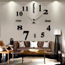 Alloy+Acrylic Mini Modern Art Mirror Wall Clock 3D Sticker Design Home Office Room Decor DIY Gold Silver White Red Black