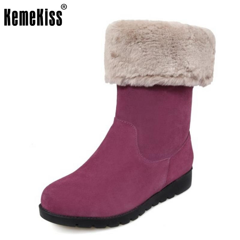 Genuine Real Leather Plush Thickend Fur Winter Women Boots Half Flats Snow Boots Fashion Women Shoes Sapato Feminino Size 34-39 classicone woman shoes winter boots genuine leather suede knee high boots flats fur snow boots shoes women s brand fashion style