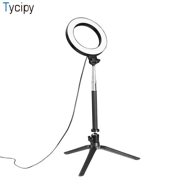 Tycipy Ring Light Led Photography Selfie Photo Camera Video Table Mini Lamp With Tripod Usb Cord For Make Up