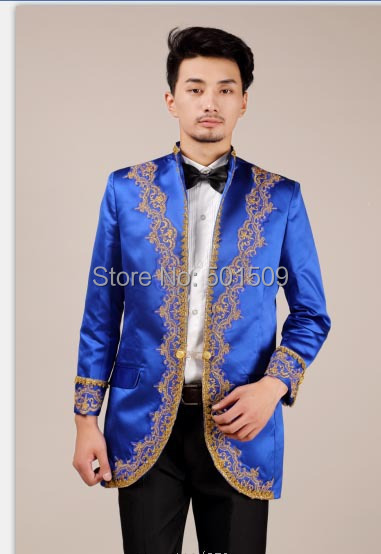 Free shipping prince cos william blue color embroidery medieval jacket prince costume