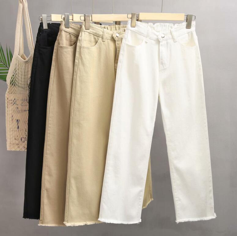 2019 Spring Summer Women White   Jeans   High Waist Loose Causal Wide Leg   Jeans   Korean Style Ripped   Jeans