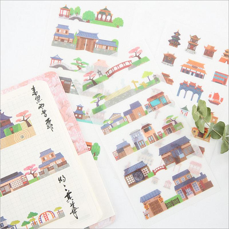 6pcs/lot Ancient architecture children Paper diy  Decorative Sticker Diary Album Label Sticker Scrapbooking Sticker Stationer