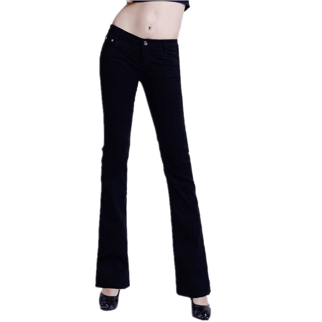 2019 Slim Women Jeans Casual Mid Waist Elastic Candy 10Color Denim Flare Pants Trousers Woman Bell