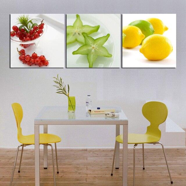 Moderne wandkunst gemälde 3 stücke küche decor bilder frisches obst ...