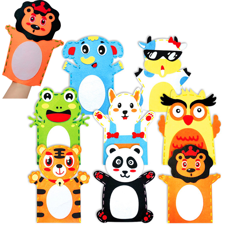 Creative DIY Handmade Cartoon Animals Nonwoven Fabric Glove Kids Finger Education Learning Crafts Toys For Children Beads Toys