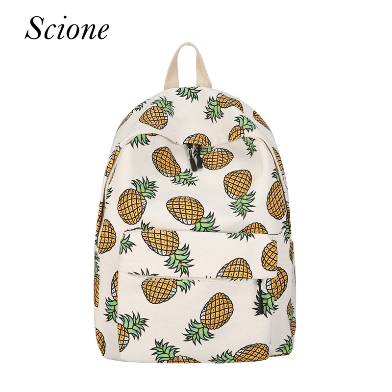 Fashion Women Canvas Backpack Pineapple Printing School Bags For Teenager Girls Travel Daily Rucksack Mochila for Dropshipping