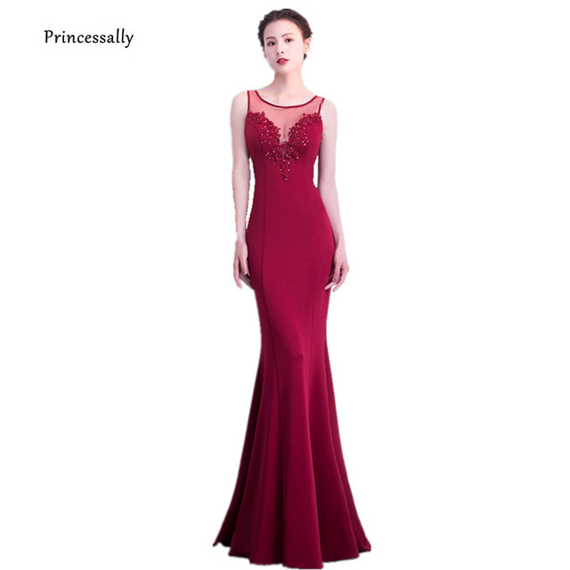 3da17e54e60 Mermaid Evening Dress Burgundy Appliques Beading Sexy Illusion Back Elegant  Long Prom Party Gown Robe De Soiree Vestido Largo