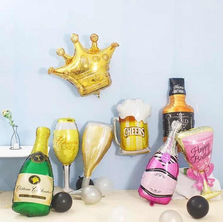 Большой шампанское Гелий воздушные шары Свадьба День рождения Фламинго фольга баллоны виски бутылка Aniversario Globos Бар Декор вечерние вечеринок