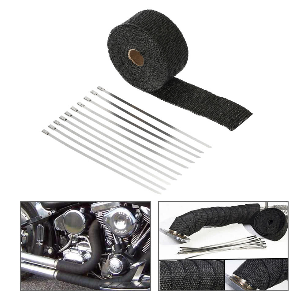 10m Fiberglass Exhaust Heat Wrap Roll Durable Wear-Resistant Heat Shield Tape Insulating Pipe for Motorcycle Car with 10 Ties