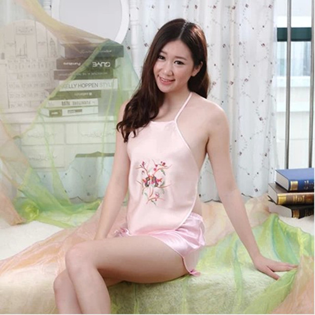 100% Mulberry Silk Stomachers Sexy Double Layer Pure Silk Adult Apron Women Embroidery Pomegranate Camisoles FREE SHIPPING