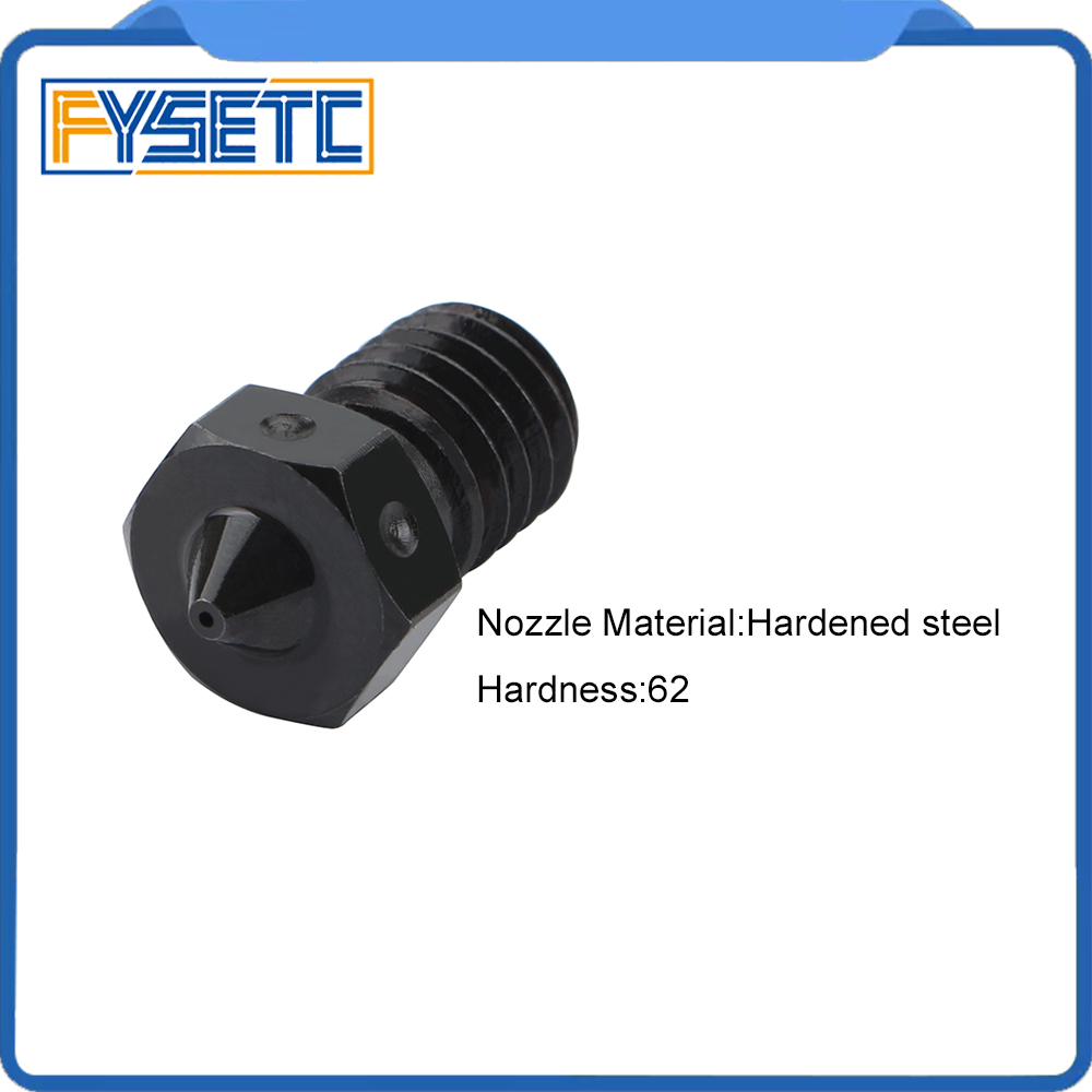 Tigh Quality Hardened Steel V6 Nozzles For High Temperature 3D Printing PEI PEEK Carbon Fiber Filament For E3D Titan Aero Hotend image