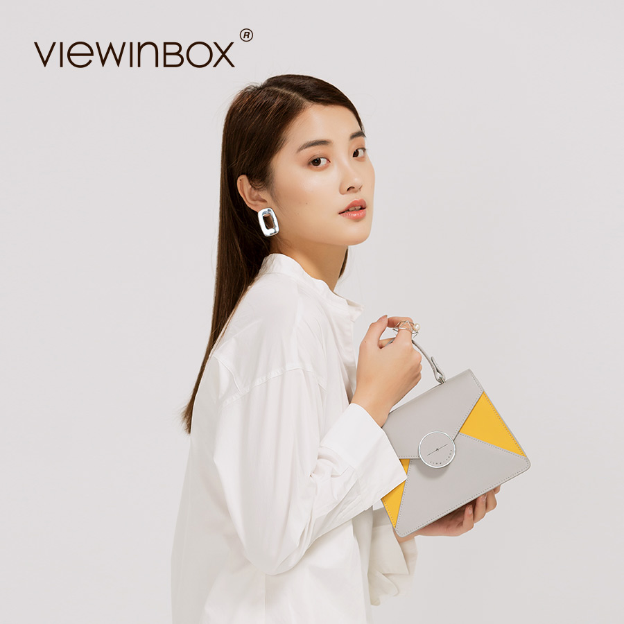 Viewinbox New Fashion Stylish Handbag Split Leather Messenger Bag Solid Casual Satchel Shoulder Women Bag viewinbox vintage shoulder bag split leather casual women messenger handbags retro box case bag