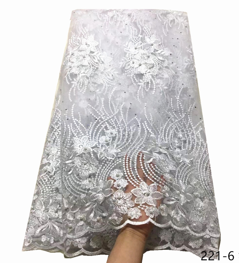 Hot Sale French Lace Fabric Pure White Nigeria Lace Fabric High Quality African Tulle Lace Fabric For Wedding Party Dress 221