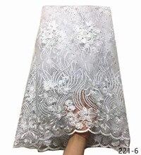 Nóng Bán Vải Ren Pháp Màu Trắng Tinh Khiết Nigeria Vải Ren Chất Lượng Cao Vải Tuyn Phi Ren Vải Cho Wedding Dress 221