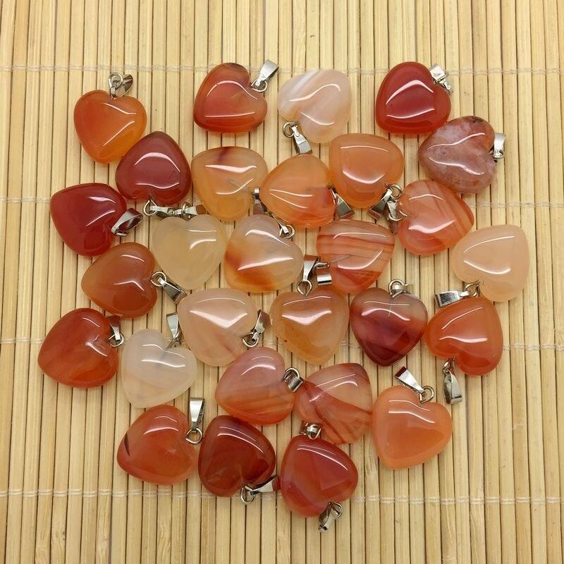 15 Colors Fashion Semi Precious Stone Heart Earrings Pendants Opal Howlite Onyx Charm Heart Pendant Jewelry 16 Mm DIY Supplies