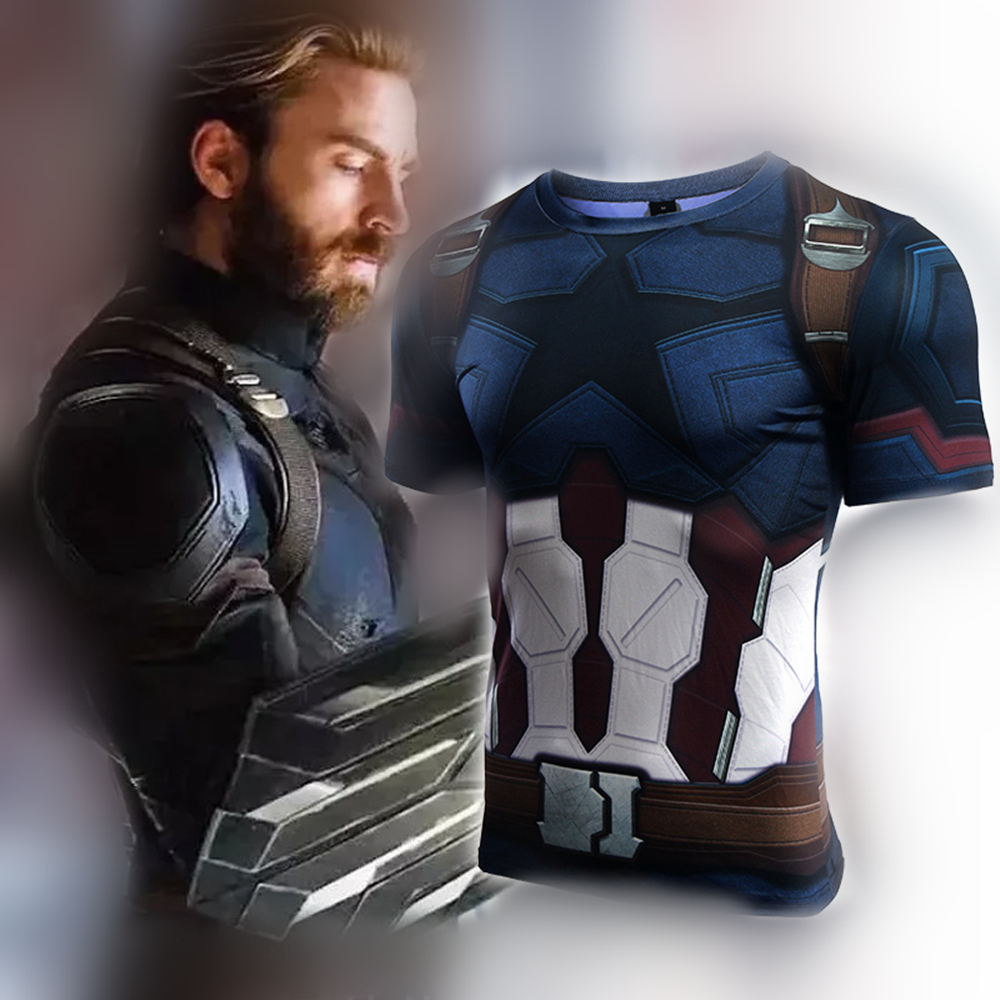 db612df13a3c3 Avengers 3 infinity war Captain America 3D Printed T shirts Men Compression  Shirt Cosplay Short Sleeve Crossfit Tops tshirt Male
