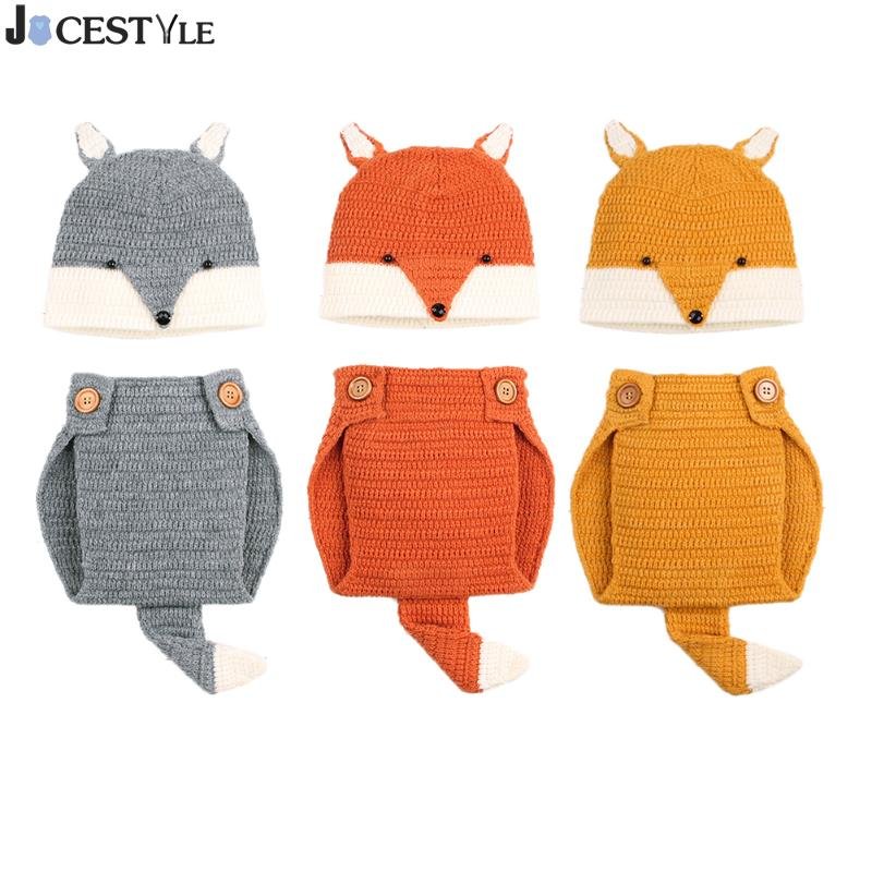 Infant Baby Boys Girls Photography Clothing Sets Cartoon Fox Crochet Knitted Breathable Pants Set with Hat Photo Props 3pcs stars war master yoda cartoon hat pants column creative clothes baby set toddlers handmade newborn infant photography props