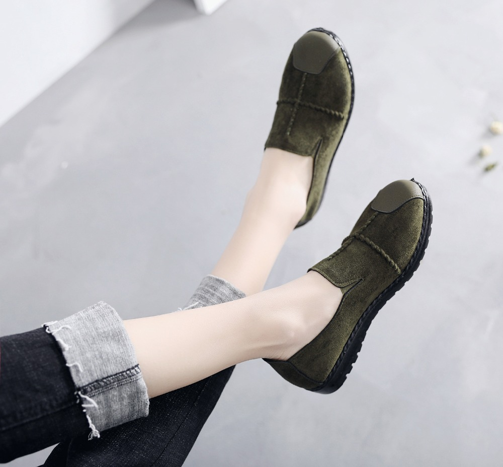 Plus Size Summer Women Flats Fashion Splice Flock Loafers Women Round Toe Slip On Leather Casual Shoes Moccasins New 2019 VT209 (16)
