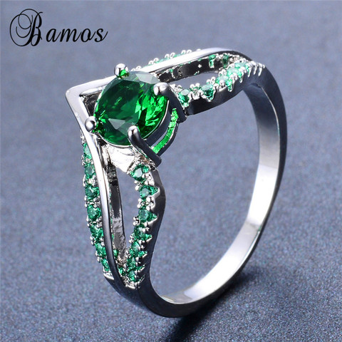 Bamos New V Shape Design Round Multicolor AAA Zircon Birthstone Ring White Gold Filled Best Wedding Rings For Women Lover Gifts Lahore