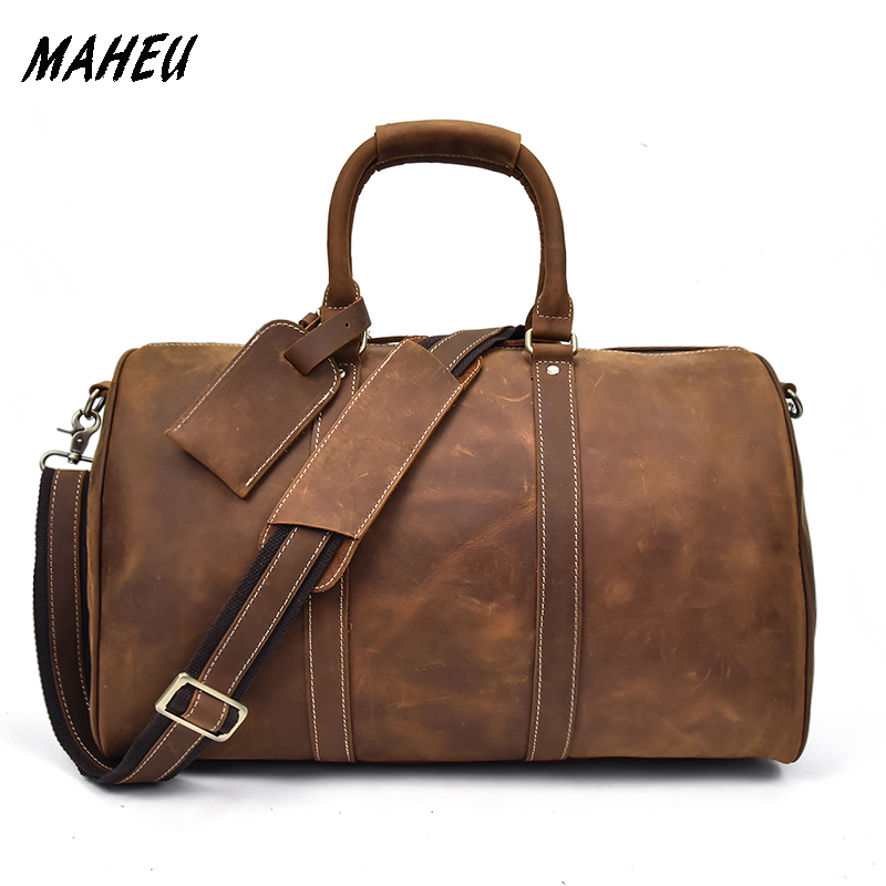 MAHEU Genuine Cowhide Leather Men Travel Bag Crazy Horse Leather Tote Bag Large Capacity Hand Luggage