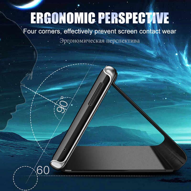 ل ممن لهم رينو Z حافظة فاخرة مرآة الوجه بو الجلود حامل غطاء عرض ذكي ل ممن لهم Realme C2 A1k رينو 10x التكبير Realme 3 برو