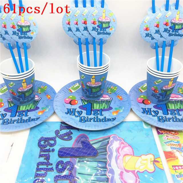61PCS Blue My 1St Birthday theme party supplies kids birthday