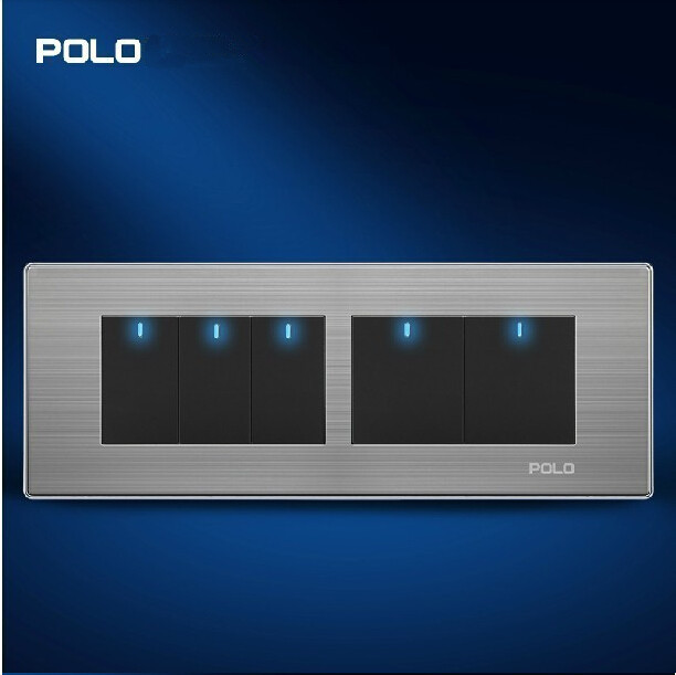 POLO luxury Electrical Wall eu us touch light switches Panel, Tap switch,110~250V,5 Gang 2 Way ...