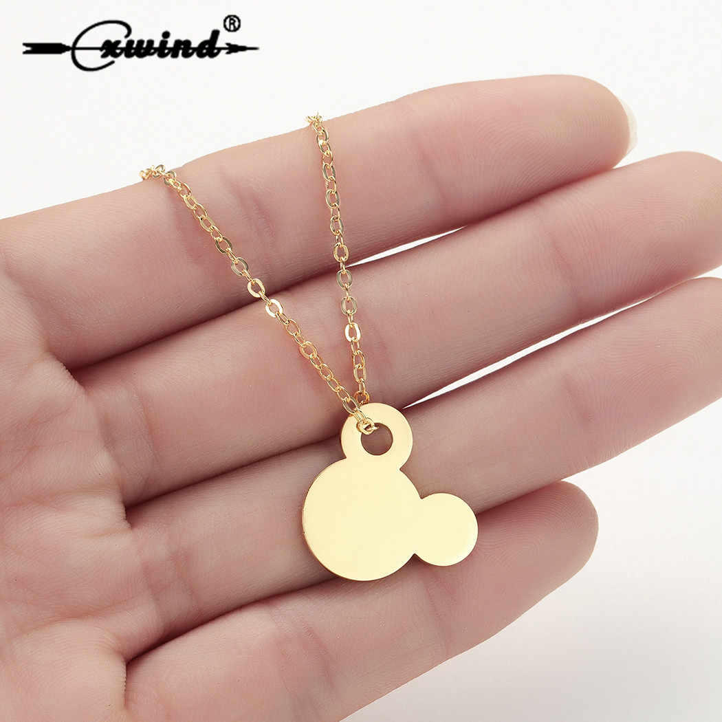 Cxwind Stainless Steel Mickey Pendant Necklaces for Women Girl Choker Cartoon Animal Mouse Head Chain Necklaces Jewelry collares
