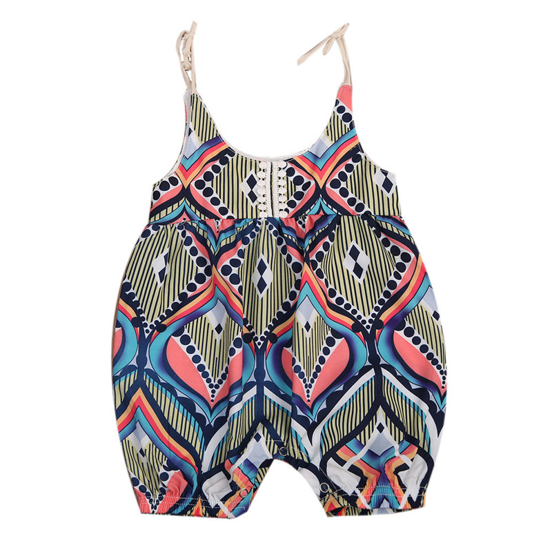 Newborn Baby Girls Boho Floral Strap Romper One Pieces Striped Summer Hot Sale Lace-up Romper Jumpsuit Sunsuit Girl Clothes 0-2T newborn infant baby clothes girls floral lace off shoulder ruffle romper jumpsuit outfit sunsuit summer one piece baby onesie
