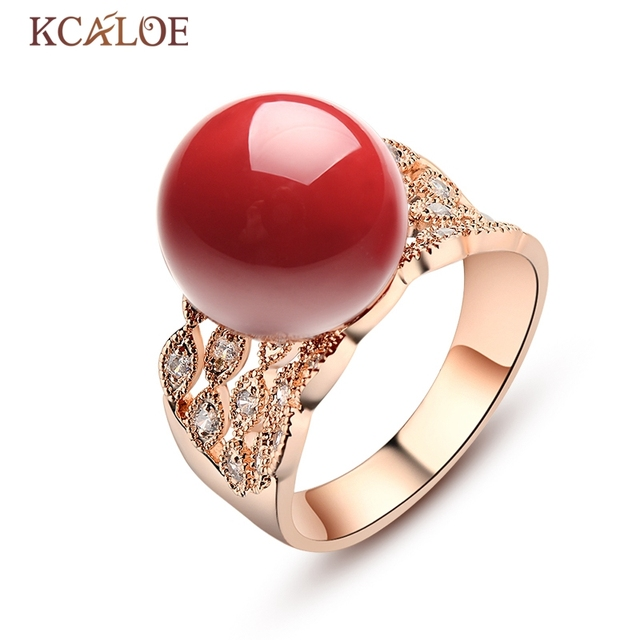 Kcaloe Red Artificial C Stone Ring For Women Cubic Zirconia Crystal Wide Rose Gold Color Wedding