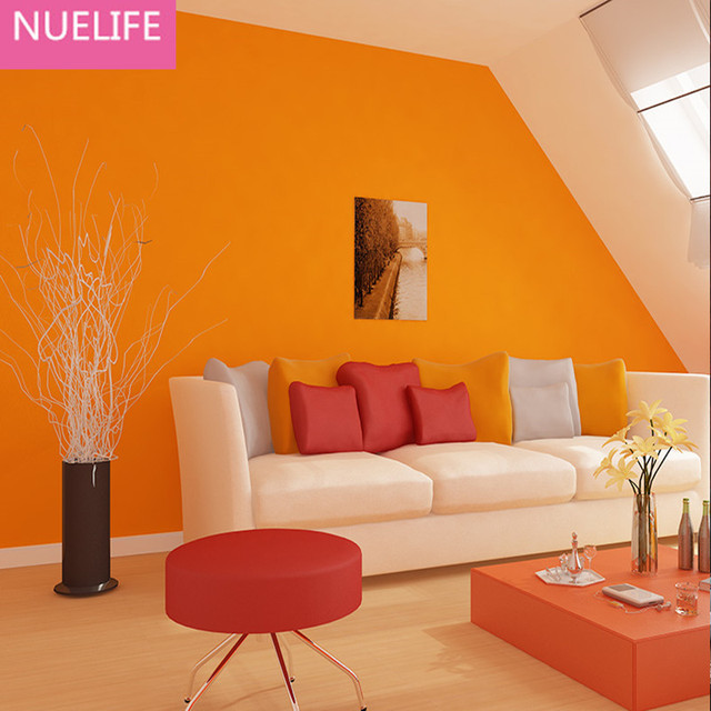 US $31.05 11% OFF|0.53x10m Orange Green Blue Nonwovens Wallpaper Office  Wedding Room Bedroom Living Room TV Background Wallpaper-in Wallpapers from  ...