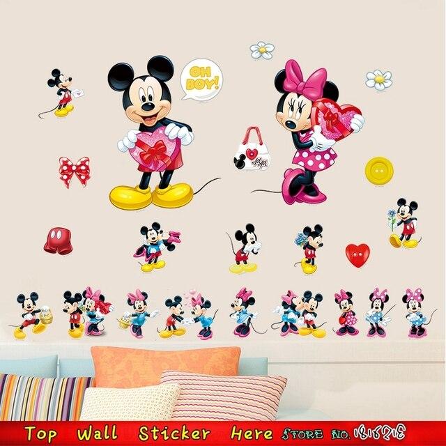 3D Mickey Minnie Maus Wandaufkleber Für Kinderzimmer Dekor Cartoon ...