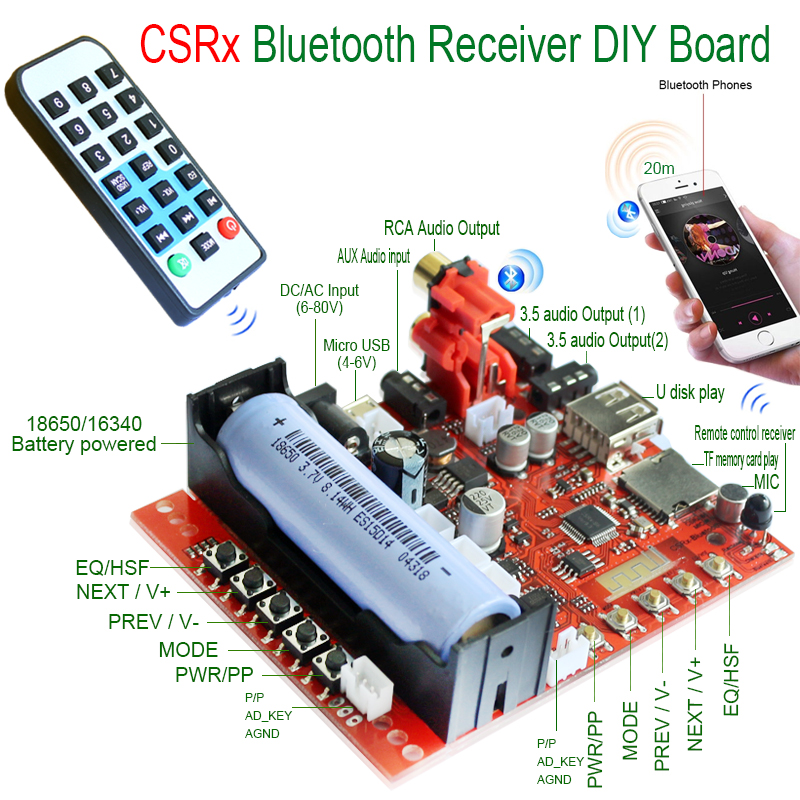 CSR Wireless Car 4.2 Bluetooth Receiver Adapter 3.5mm to 2RCs