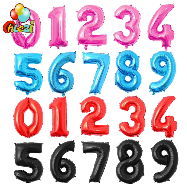 32inch Number Foil Balloons Pink Blue Red Black Gold Silver Balloon Wedding Happy Birthday Party Decoration Supplies Baby Shower