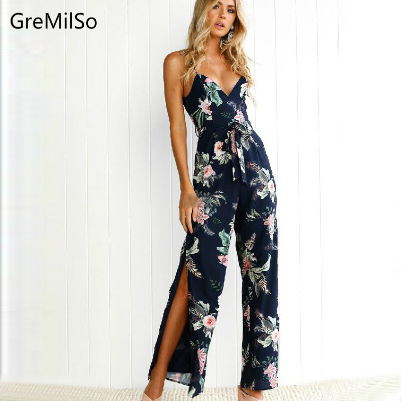GreMilSo <font><b>2018</b></font> <font><b>Sexy</b></font> <font><b>Jumpsuits</b></font> Women Spring Summer Beach Off Shoulder Floral Long Rompers Backless Lace Up <font><b>Jumpsuit</b></font> Playsuits image