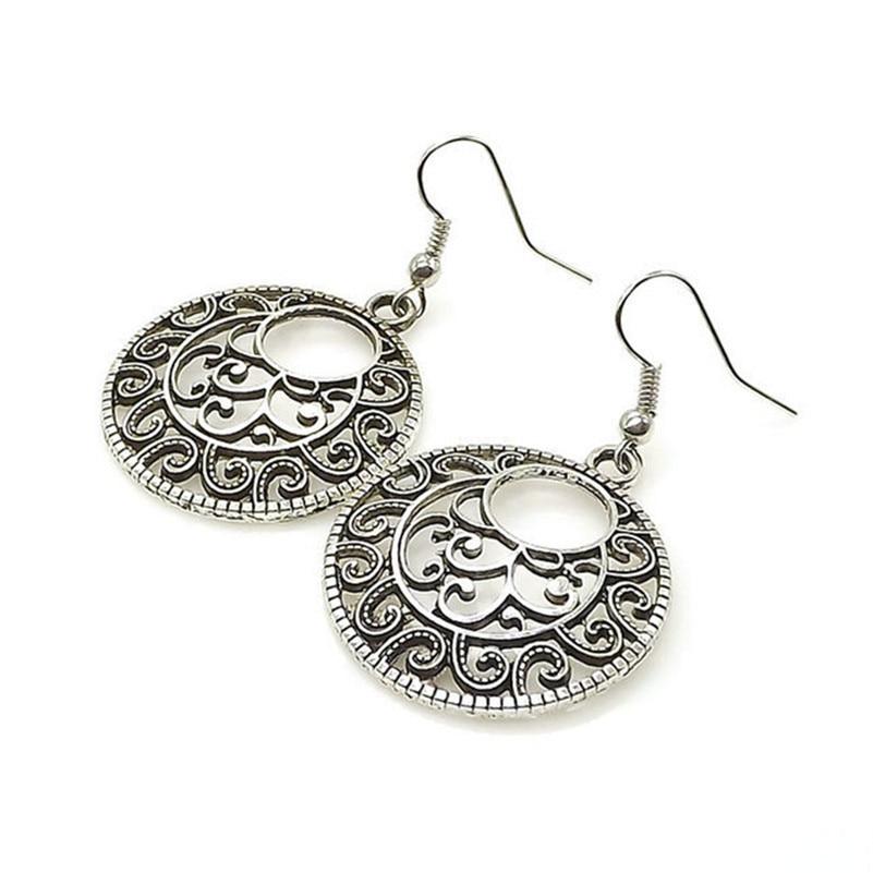 Trendy Jewelry Bohemian Vintage Ethnic Tibetan Silver Long Big Hollow Round Drop Earring Carved Flowers dangle Earrings Women