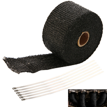 1 Roll 5M Exhaust/Header Heat Wrap Black With 6 Stainless Cable Ties For Car Motorcyele Motorbike Vehicle Truck Accessories